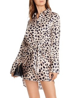 AQUA Tie-Front Cheetah Print Dress - 100% Exclusive