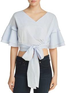AQUA Tie-Front Cropped Top - 100% Exclusive