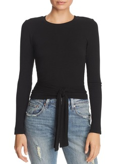 AQUA Tie-Front Rib-Knit Cropped Top - 100% Exclusive
