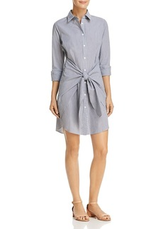 Aqua Tie-Front Striped Shirt Dress - 100% Exclusive
