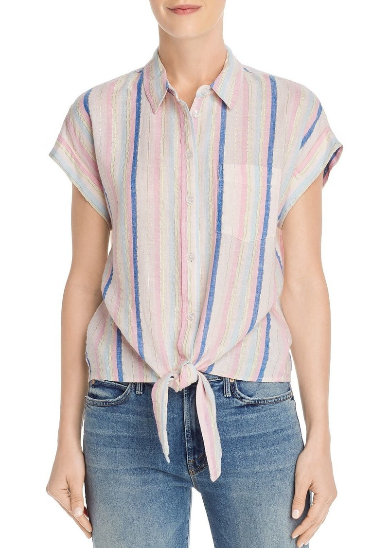 AQUA Tie-Hem Striped Shirt - 100% Exclusive
