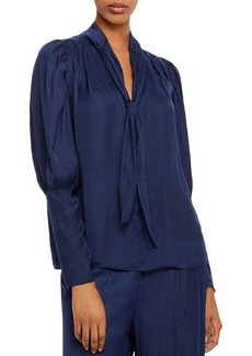 AQUA Tie-Neck Bishop-Sleeve Top - 100% Exclusive