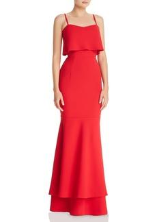 AQUA Tiered Crepe Gown - 100% Exclusive