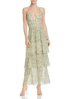 AQUA Tiered Cutout Floral Maxi Dress - 100% Exclusive