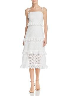 AQUA Tiered Eyelet Midi Dress - 100% Exclusive