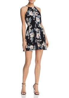 AQUA Tiered Floral Print Fit-and-Flare Dress - 100% Exclusive
