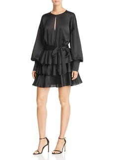 AQUA Tiered Satin Dress - 100% Exclusive