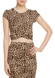 AQUA Twist-Front Leopard Print Cropped Top - 100% Exclusive