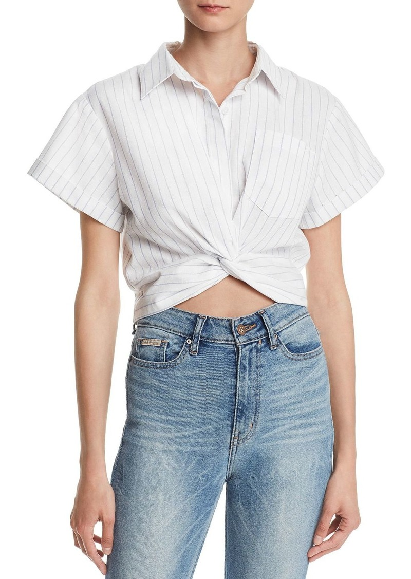 AQUA Twist-Front Striped Linen Cropped Top - 100% Exclusive