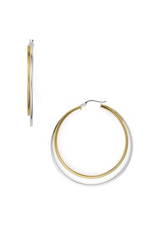 AQUA Two-Tone Hoop Earrings in 18K Gold-Plated Sterling Silver & Sterling Silver - 100% Exclusive