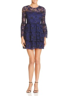 AQUA Two Toned Lace Bell Sleeve Dress - 100% Exclusive