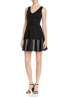 AQUA V-Neck Faux Leather Hem Dress - 100% Exclusive