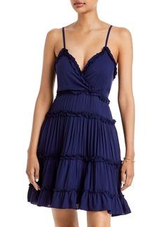 AQUA V-Neck Ruffle Trim Tiered Dress - 100% Exclusive