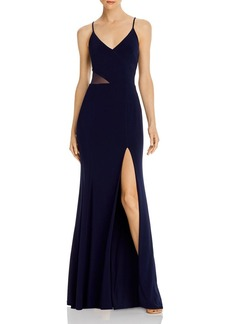 AQUA V-Neck Side Illusion Gown - 100% Exclusive