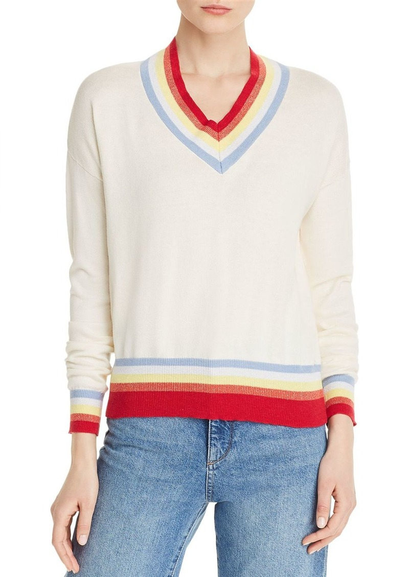 AQUA Varsity-Stripe V-Neck Sweater - 100% Exclusive