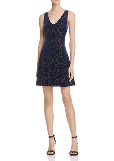 AQUA Velvet Brocade V-Neck Dress - 100% Exclusive