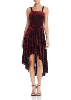 AQUA Velvet Burnout High/Low Midi Dress - 100% Exclusive