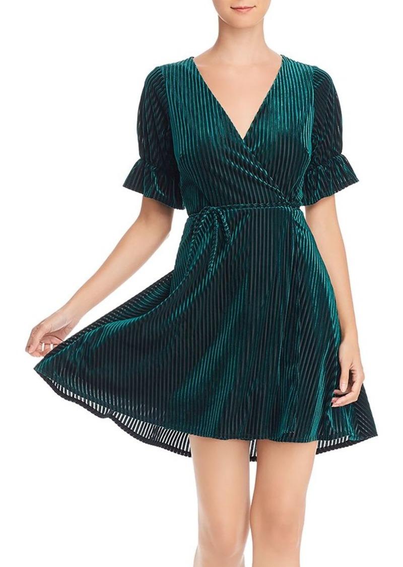 AQUA Velvet Burnout Wrap Dress - 100% Exclusive
