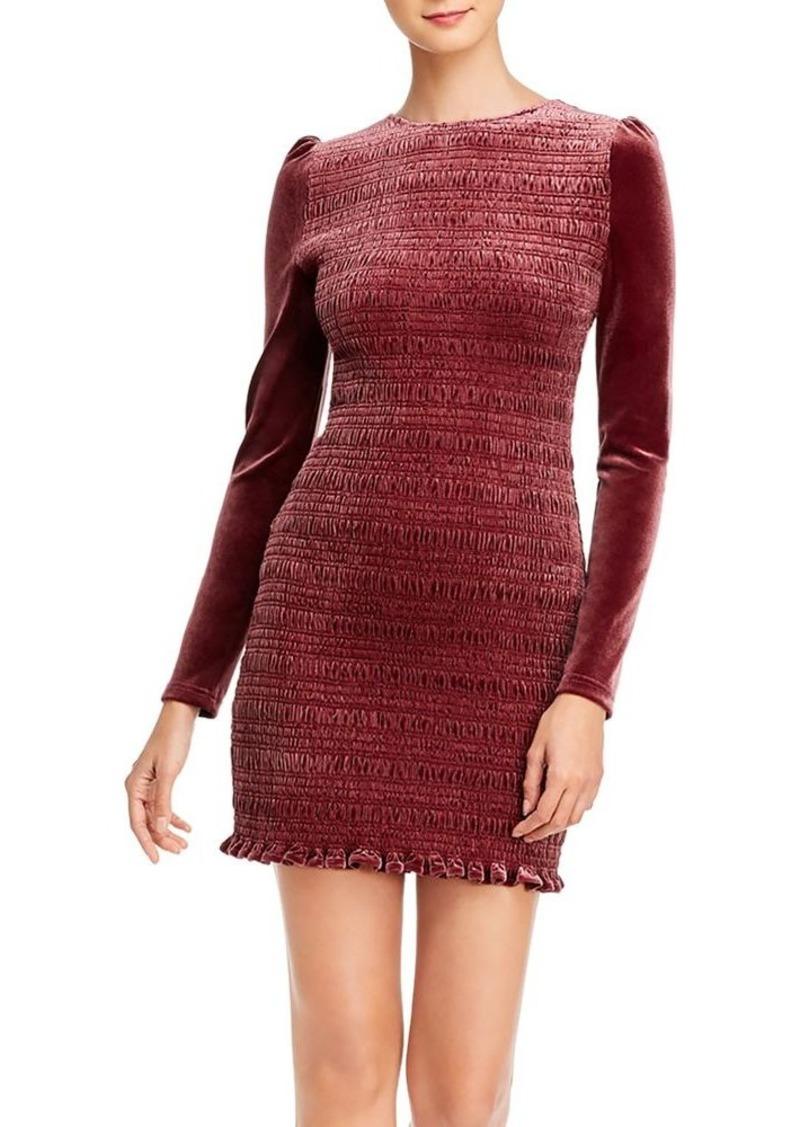 AQUA Velvet Smocked Puff-Sleeve Dress - 100% Exclusive