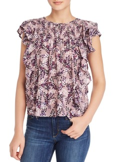 AQUA Vine Print Smocked Ruffled Top - 100% Exclusive