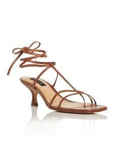 AQUA Women's Ankle Tie Kitten Heel Sandals