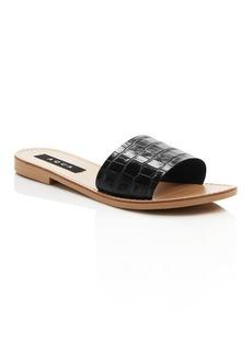 AQUA Women's Croc-Embossed Slide Sandals - 100% Exclusive