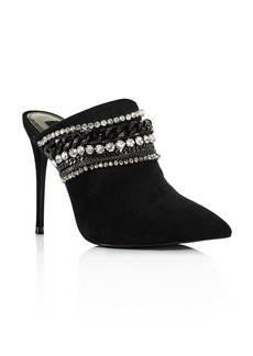 AQUA Women's Dare Embellished Suede High-Heel Mules - 100% Exclusive