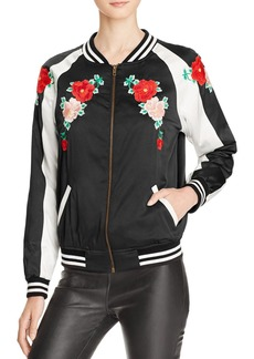 AQUA x Maddie & Tae Floral Embroidered Bomber Jacket - 100% Bloomingdale's Exclusive