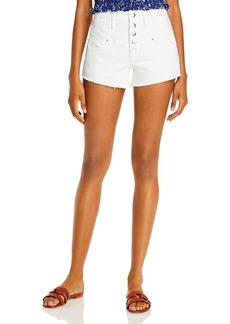 AQUA Yoke Detail Denim Shorts in White - 100% Exclusive