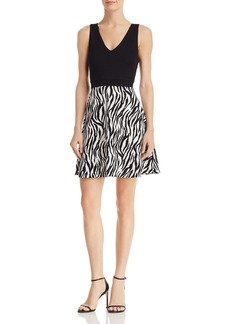 AQUA Zebra Colorblock Fit-and-Flare Dress - 100% Exclusive