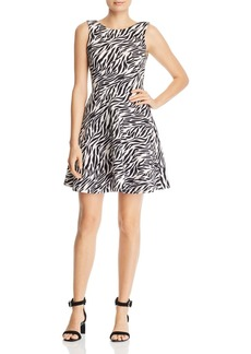 AQUA Zebra Print Fit-and-Flare Dress - 100% Exclusive