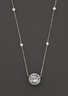 "Aquamarine and Diamond Halo Pendant Necklace with 4 Stations in 14K White Gold, 16"" - 100% Exclusive"