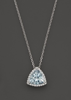 "Aquamarine and Diamond Pendant Necklace in 14K White Gold, 16"" - 100% Exclusive"