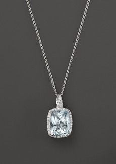 "Aquamarine and Diamond Pendant Necklace in 14K White Gold, 18"" - 100% Exclusive"