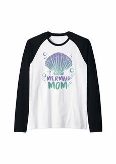 Aqua Mermaid Mom Mama Great Party Mer Gift Birthday Design Raglan Baseball Tee