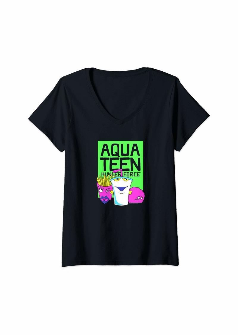 Womens Aqua Teen Hunger Force Neon Aqua Teen V-Neck T-Shirt