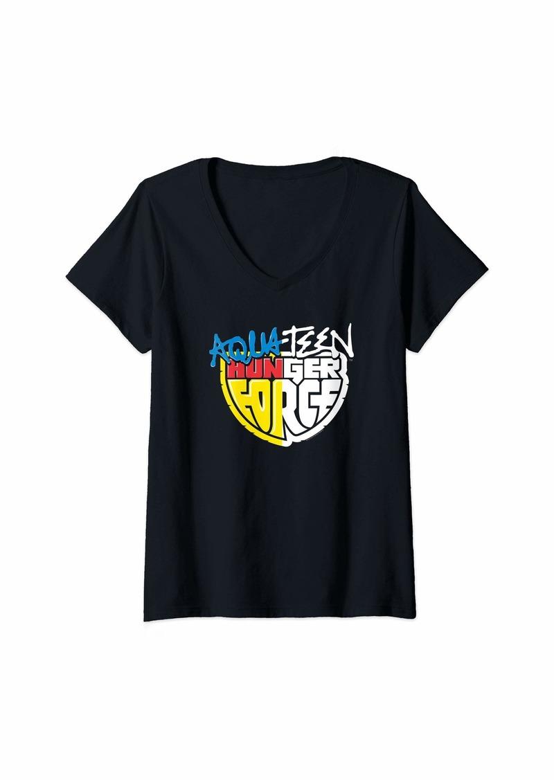 Womens Aqua Teen Hunger Force Split Logo Treatment V-Neck T-Shirt