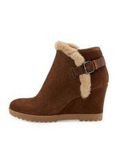 Aquatalia by Marvin K Christa Faux-Fur Suede Wedge Bootie