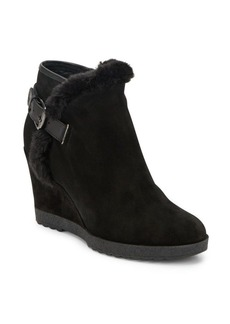 Aquatalia by Marvin K Christa Leather & Suede Wedge Booties