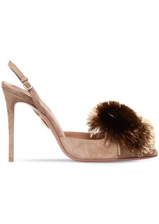 Aquazzura 105mm Powder Puff Suede Slingback Pumps