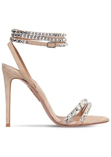 Aquazzura 105mm So Vera Suede & Swarovski Sandals