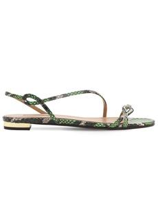 Aquazzura 10mm Serpentine Snakeskin Flat Sandals
