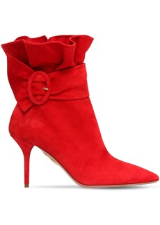 Aquazzura 85mm Palace Ruffled Suede Ankle Boots