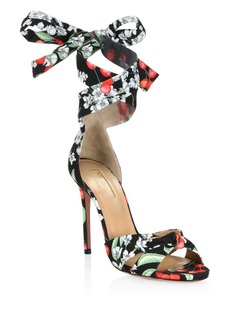 Aquazzura All Tied Up Floral Sandals