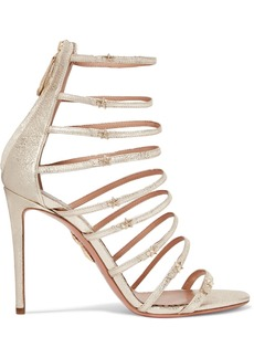 Aquazzura Claudia Schiffer Star Embellished Metallic Textured-leather Sandals