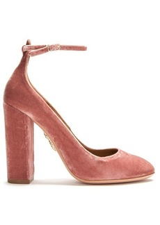 Aquazzura Alix block-heel velvet pumps