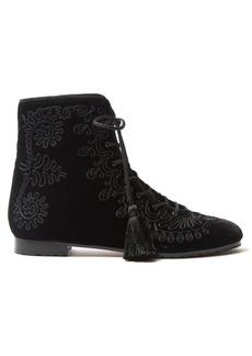 Aquazzura Almaty embroidered velvet ankle boots