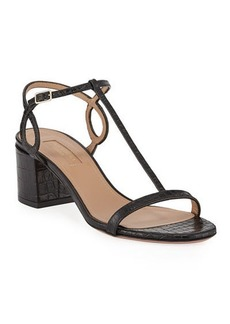 Aquazzura Almost Bare Croc-Print Leather Block-Heel Sandals