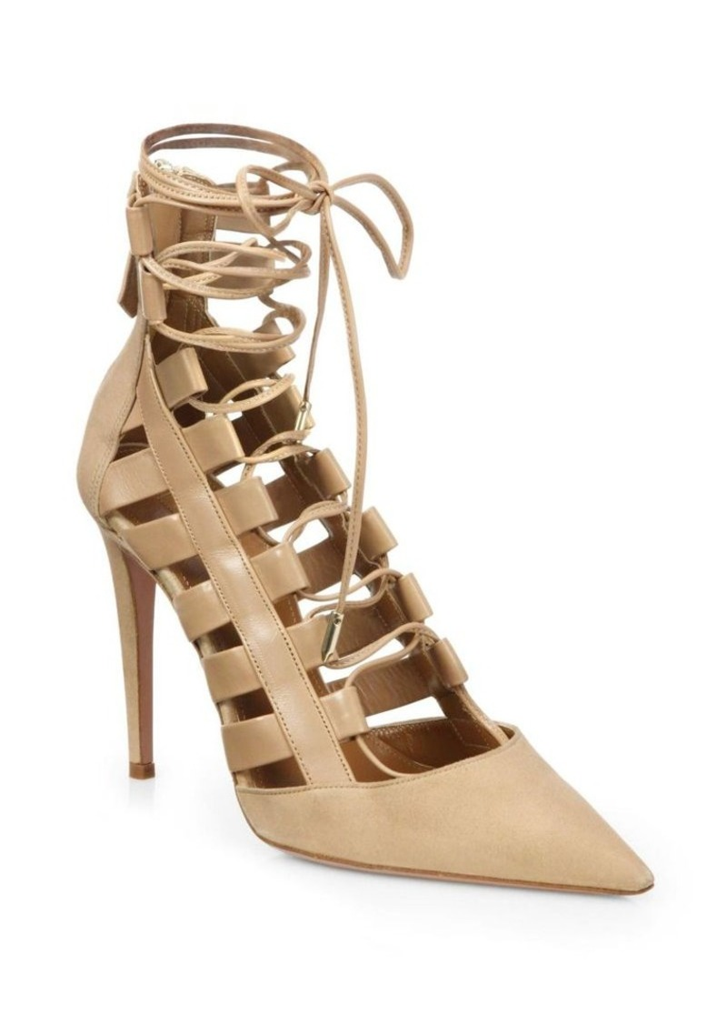 bccfa54f5f9 Aquazzura Aquazzura Amazon Leather Lace-Up Pumps
