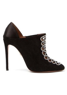 Aquazzura Amour 105 suede and satin booties